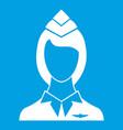 stewardess icon white vector image