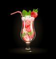 strawberry mojito cocktail vector image