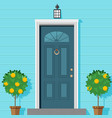 closed front door with a lantern and ornamental vector image