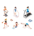 Fitness women in gym gymnastics workout and yoga vector image