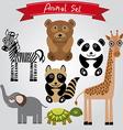 animal set zebra turtle giraffe elephant panda vector image vector image