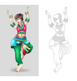beautiful indian women dancing coloring isolated vector image vector image