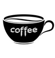 black and white cup with coffee logo or emblem vector image vector image