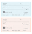 blank bank checks or cheque book vector image vector image