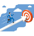 businessman on chart ladder is fast running vector image