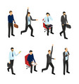 cartoon businessman character set isolated on a vector image