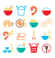 chinese take away food icons - pasta rice vector image