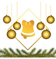 christmas bell with hat vector image