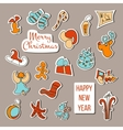 Christmas stickers Christmas set poster vector image vector image
