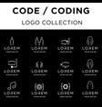 code coding logo design set collection vector image vector image