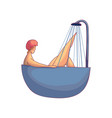 colorful drawing of cute women taking bath with vector image