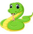 cute green snake cartoon vector image vector image