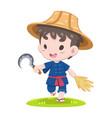 cute thai farmer walking relaxly vector image vector image