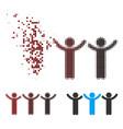 damaged pixel halftone child hands up roundelay vector image
