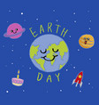 earth day typography cartoon vector image vector image