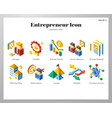 entrepreneur icons isometric pack vector image vector image