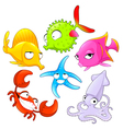 Funny sea animals vector image