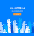 hands volunteering concept banner flat design vector image vector image