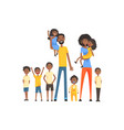 happy black family with many children portrait all vector image vector image