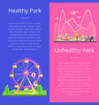 healthy and unhealthy park set vector image