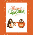 merry christmas card with penguin in knitwear vector image vector image