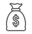 money bag line icon finance and business profit vector image vector image