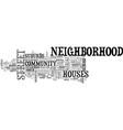 neighborhood word cloud concept vector image