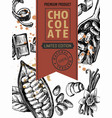 package vintage style chocolate and cocoa sketch vector image vector image