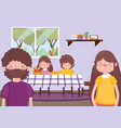 parents and kids in dining room happy thanksgiving vector image