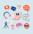 podcast icons set podcasting stickers collection vector image
