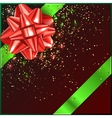 Red and green Christmas Bow with confetti on gift vector image vector image