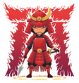 Red Armor Samurai vector image
