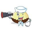 sailor with binocular snake fruit mascot cartoon vector image