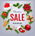 sale xmas banner with poinsettia vector image vector image