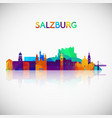 salzburg skyline silhouette in colorful geometric vector image vector image