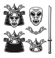 samurai monochrome objects or elements vector image