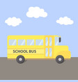 school bus yellow on road vector image vector image