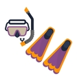 scuba diving snorkel and flippers vector image vector image