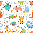 seamless pattern with amusing fantastic monsters vector image vector image