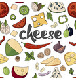 seamless pattern with cheese and vegetables on vector image