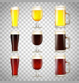 set beer in a glass vector image vector image