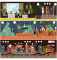 set of night club concerts flat posters vector image