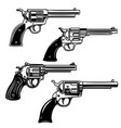 set of revolvers on white background design vector image vector image