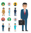 set of seven vocations full-length and round icon vector image vector image