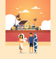 surfer couple summer vacation man woman surf board vector image vector image