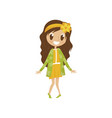 sweet cartoon girl character in yellow dress and vector image vector image