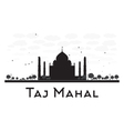 Taj Mahal skyline black and white silhouette vector image vector image
