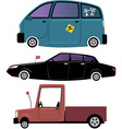 Three cartoon cars vector image vector image