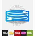 usb paper sticker with hand drawn elements vector image vector image