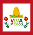 viva mexico hat tradition culture flower vector image vector image